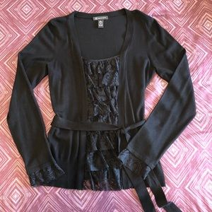 Women's INC Black Sweater with Lace, NWOT, L
